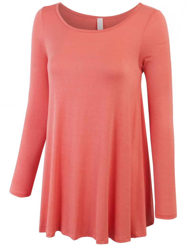 Long Sleeve Boat Neck Loose Fit Basic Knit Tunic Top