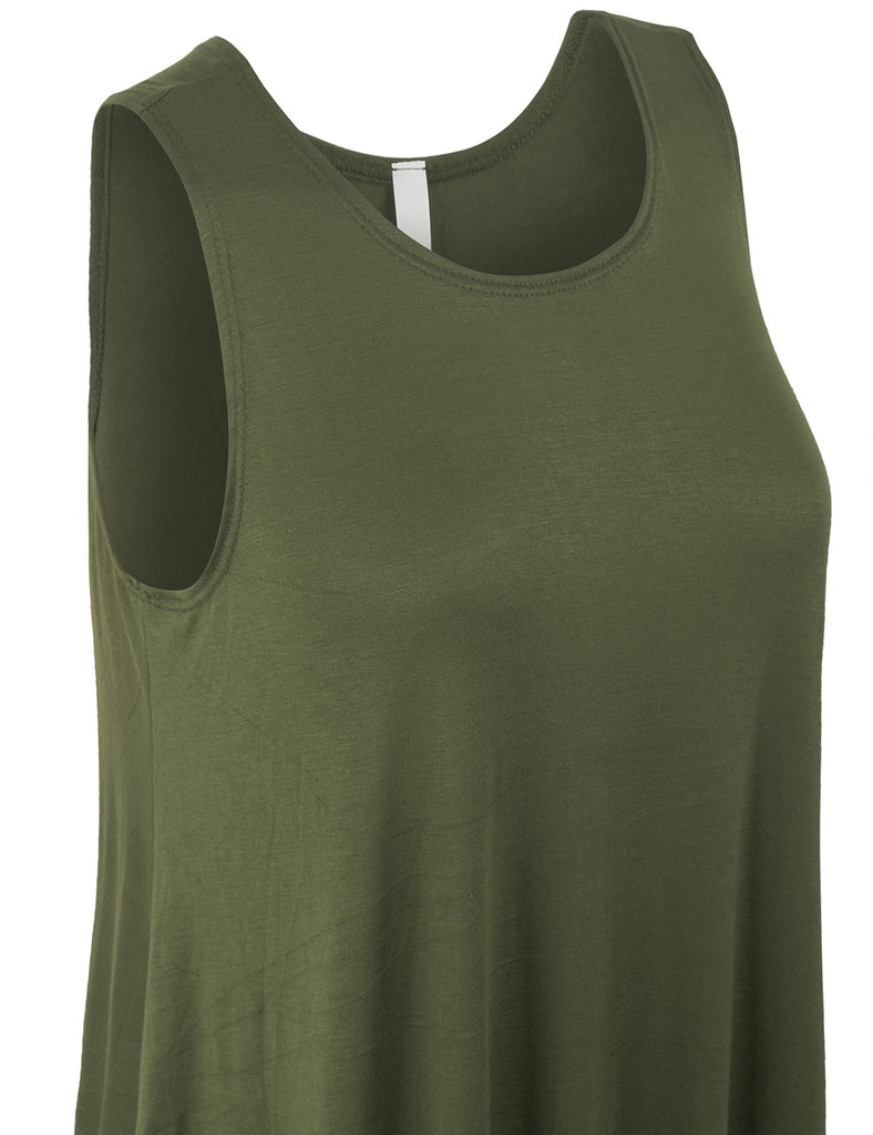 Solid Sleeveless Loose Fit Trapeze Tunic Long Tank Top