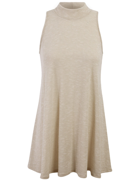 Mock Neck Knit Sweater Sleeveless Long Tunic