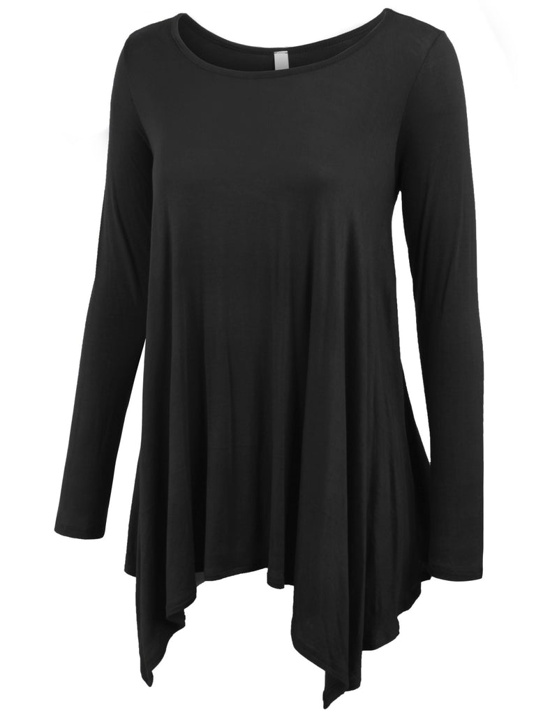 Solid Boat Neck Loose Fit Asymmetrical Tunic Top (S-3X)