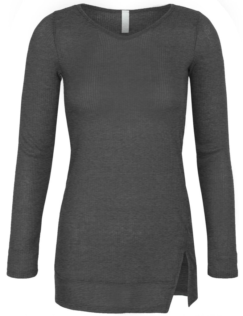 Long Sleeve Ribbed Knit V Neck Front Slit Top T Shirt