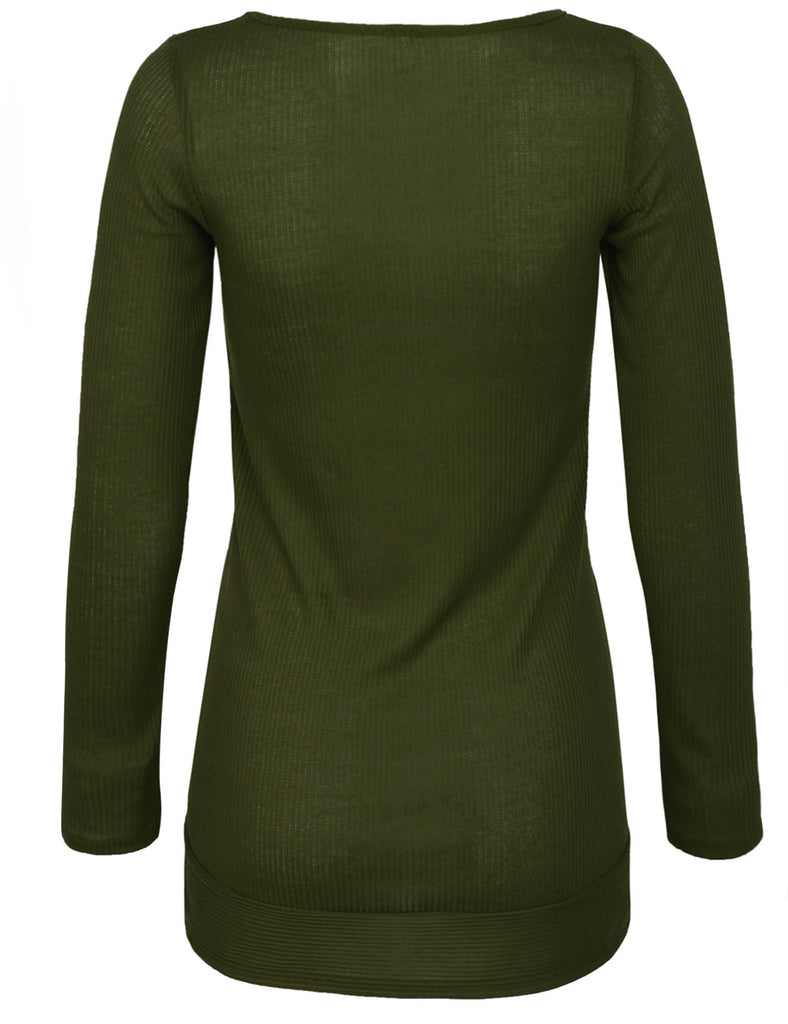 [Clearance] Womens Long Sleeve Ribbed Knit V Neck Front Slit Top T Shirt