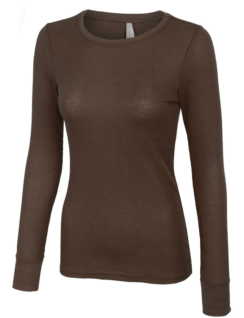 Plain Basic Round Crew Neck Thermal Long Sleeves T Shirt Top