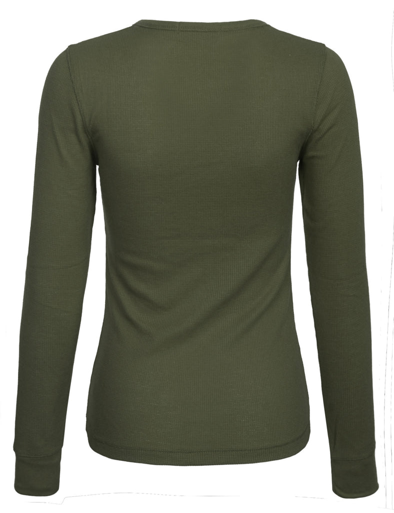 Womens Long sleeve Plain Basic Crew Neck Cotton Thermal T Shirt Top (S-3X)