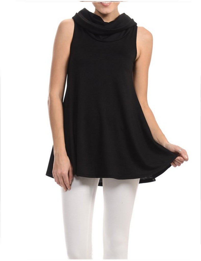 Solid Cowl Neck Sleeveless Flared Knit Top