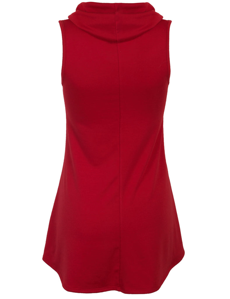 [Clearance] Womens Solid Cowl Neck Sleeveless Flared Knit Top