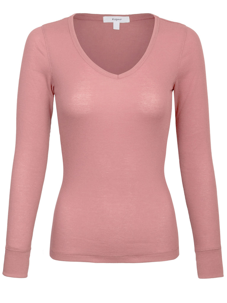 [Clearance] Womens Plain Basic V-Neck Thermal Long Sleeves T Shirt Top