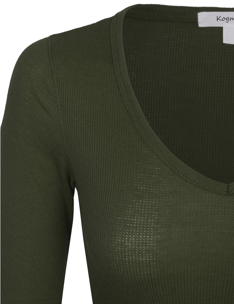 Womens Plain Basic V-Neck Thermal Long Sleeves T Shirt Top