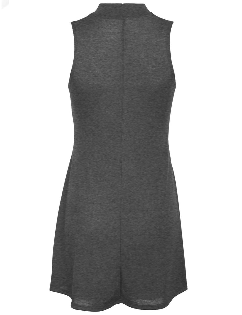 [Clearance] Womens Solid Mock Neck Sleeveless Flared Knit Long Tank Top