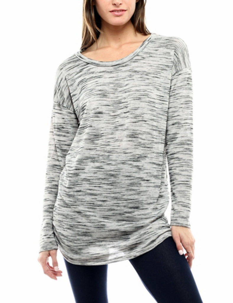 Long Sleeve Knit Drape Top Side Shirring Tunic