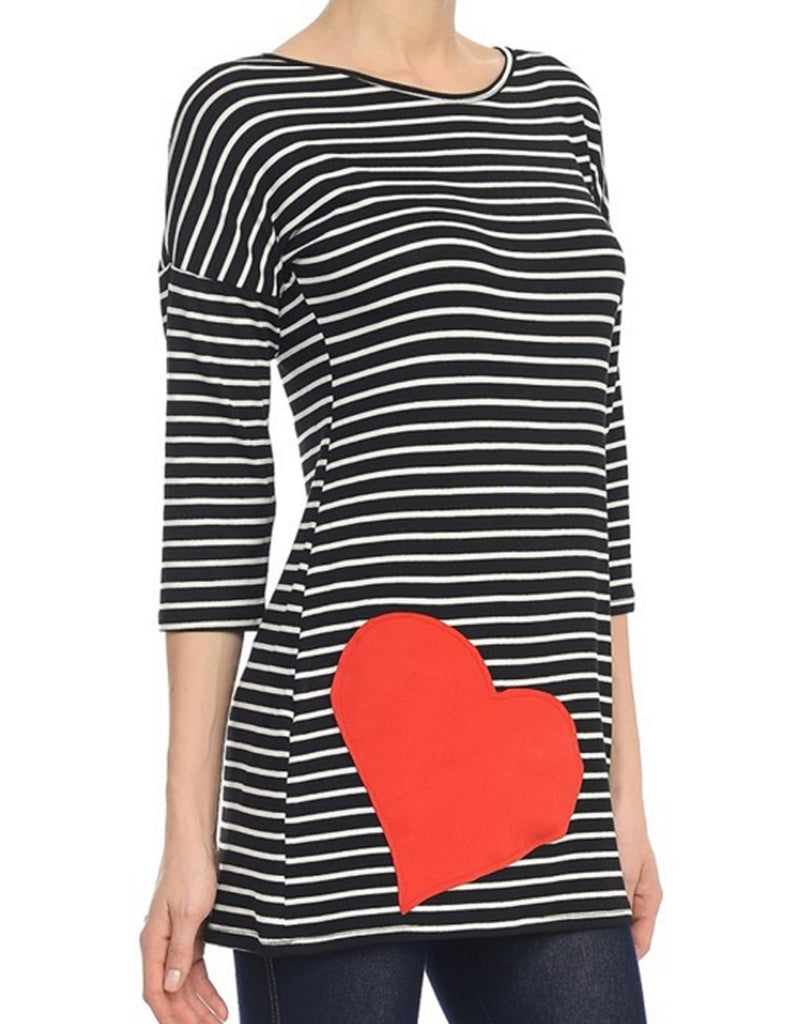 Womens 3/4 Sleeve Stripe Cute Heart Tunic Top Shirts