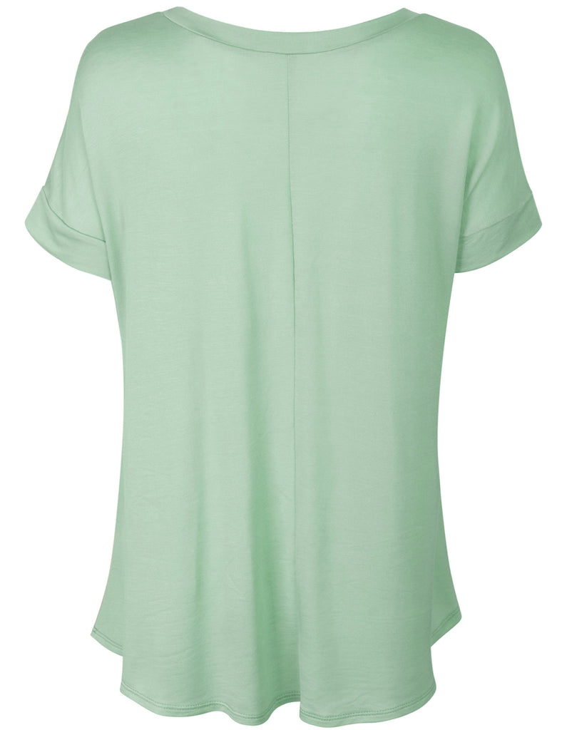 [Clearance] KOGMO Womens Boat Neck Short Sleeve Flowy Top T-shirts
