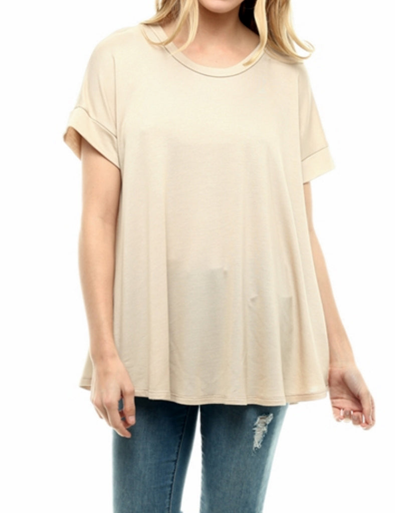 Boat Neck Short Sleeve Flowy Top T-shirts