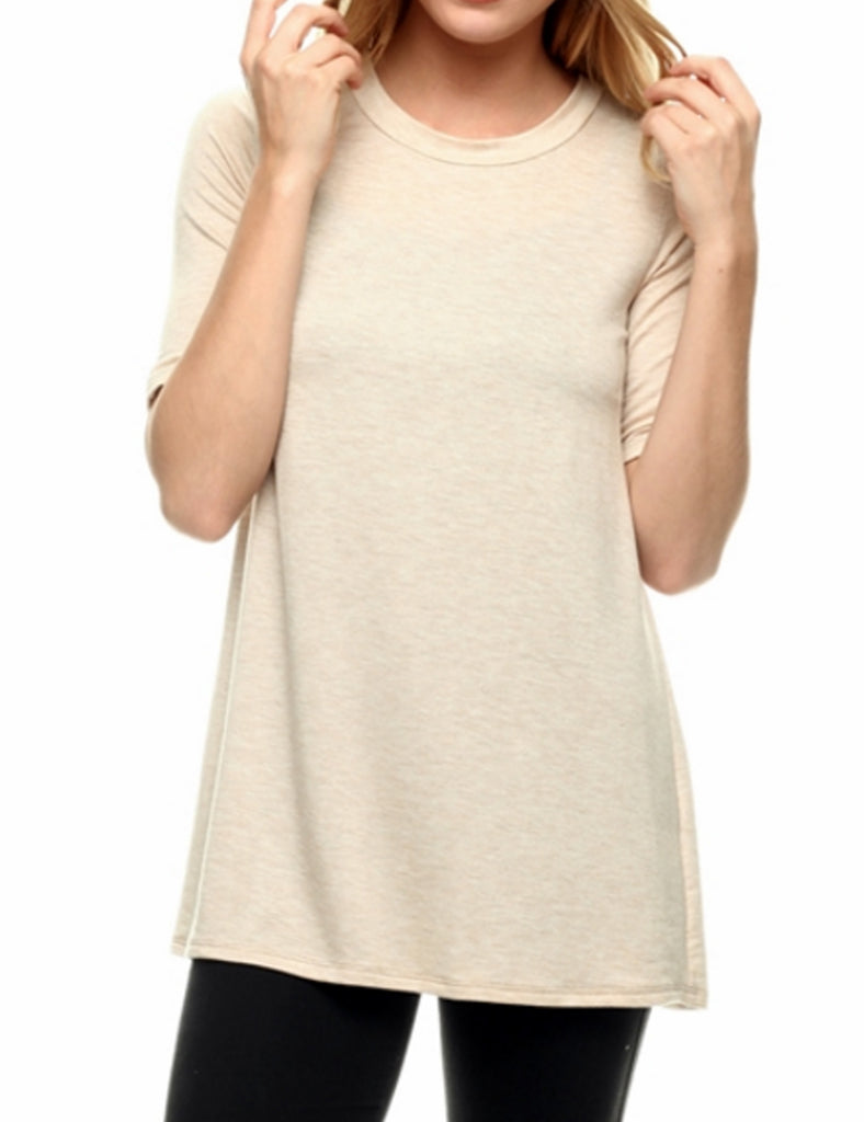 [Clearance] Womens Short Sleeve Basic Loose Fit Soft French Terry Tshirt Top
