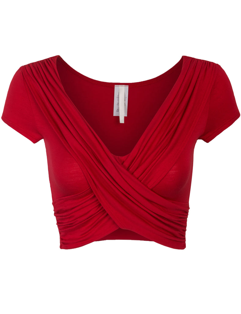 Womens Short Sleeve Criss Cross Crop Top