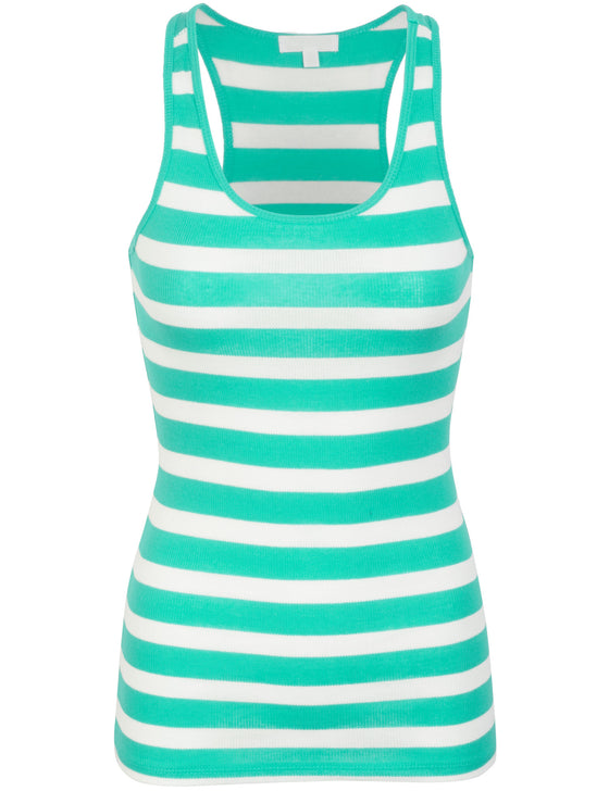 Cotton Stripe Ribbed Racerback Tank Top