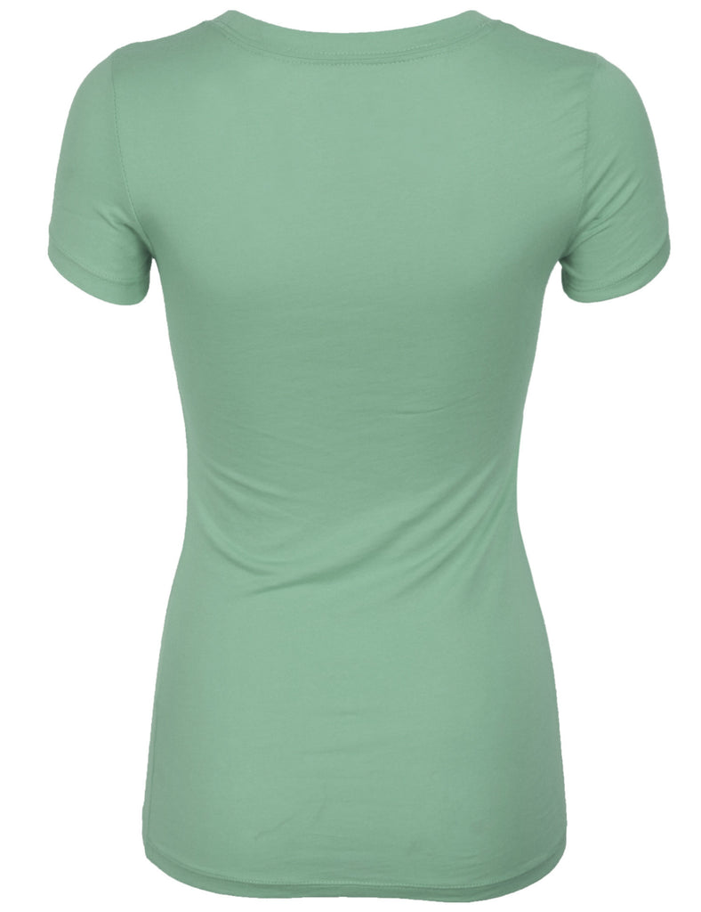 Short Sleeve Basic Plain Round Neck Cotton T-shirt Top