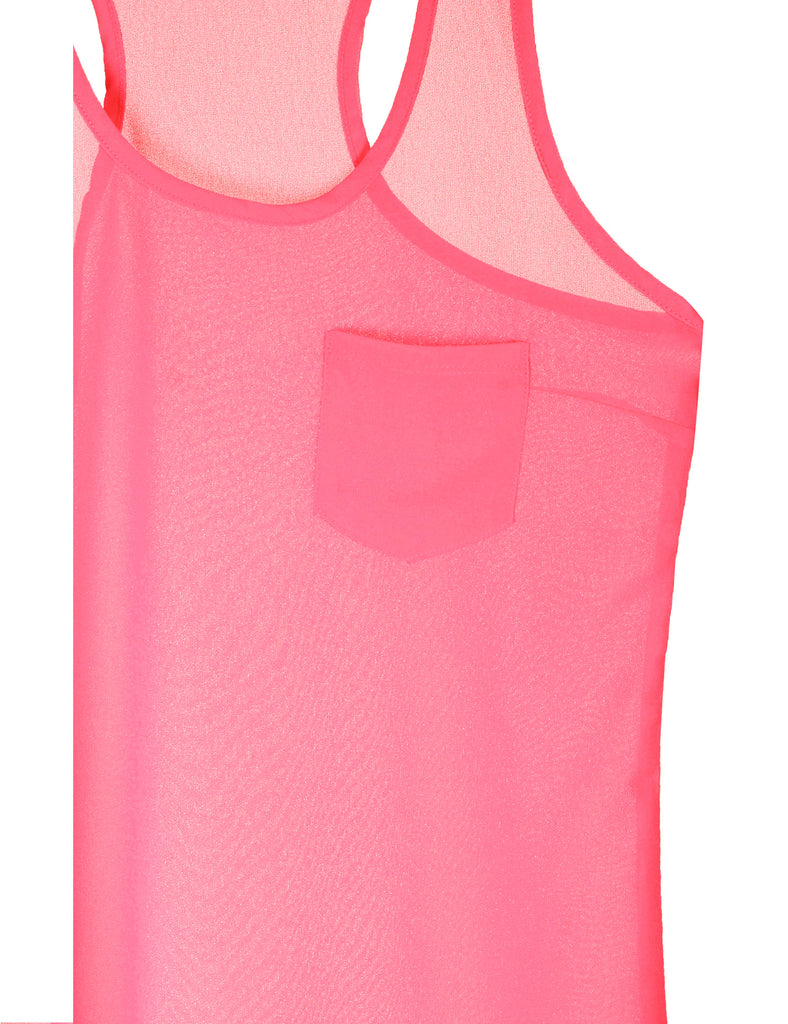 Womens Sheer Chiffon Racerback Tank Top Shirts with Front Pocket