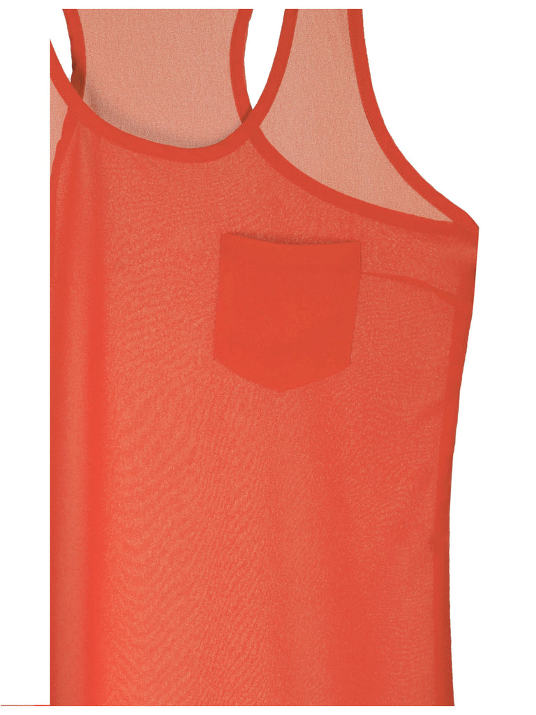 [Clearance] Womens  Sheer Chiffon Racerback Tank Top Shirts with Front Pocket