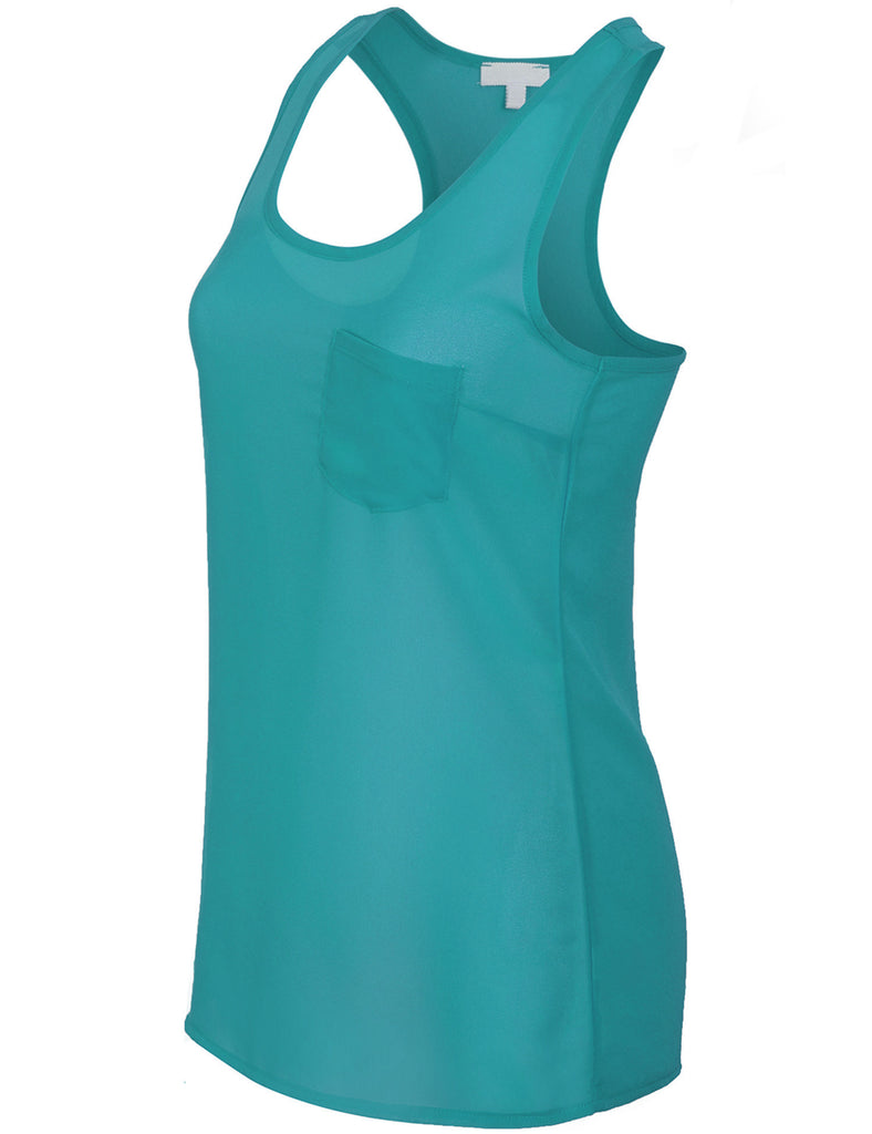 Sheer Chiffon Racerback Tank Top Shirts with Front Pocket