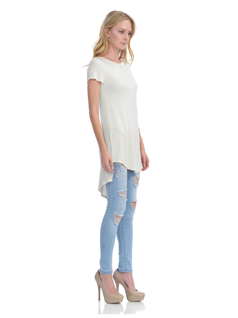 [Clearance] Womens Short Sleeve Handkerchief Hemline Long Flare Tunic Top