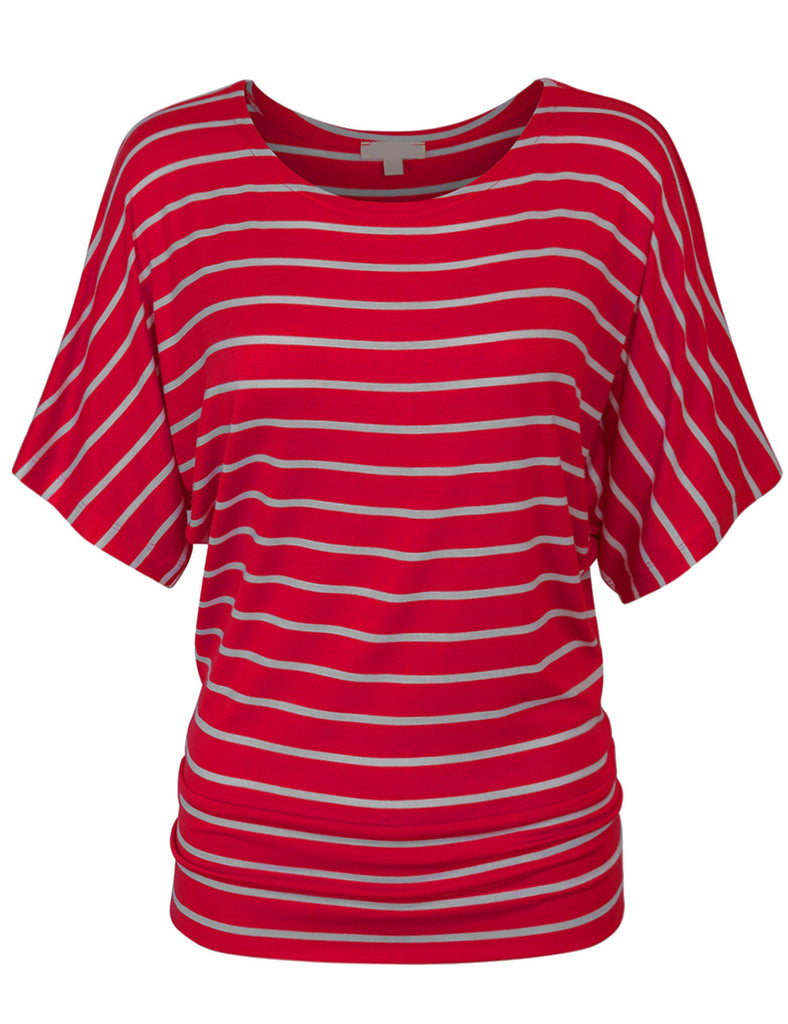 [Clearance] Womens Round Neck Striped Dolman Sleeve Casual Drape Top T-Shirt