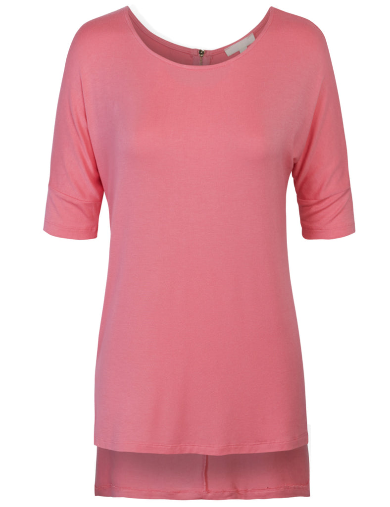 [Clearance] Womens Round Neck Dolman Sleeve Casual Tunic Top with Zipper Details
