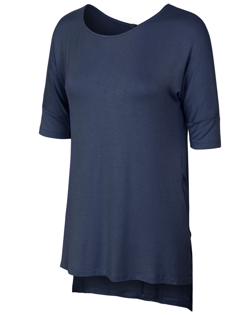 Round Neck Dolman Sleeve Casual Tunic Top with Zipper Details