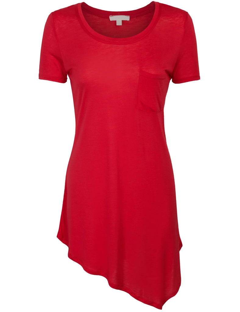[Clearance] Womens Short Sleeve Asymmetrical Hemline Tunic Top with Pocket