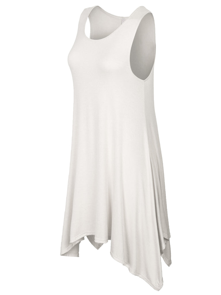 [Clearance] Womens Solid Sleeveless Shark Bite Loose Fit Trapeze Tunic Long Tank Top