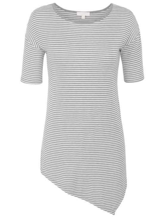 Short Sleeve Striped Asymmetrical Hemline Tunic Top