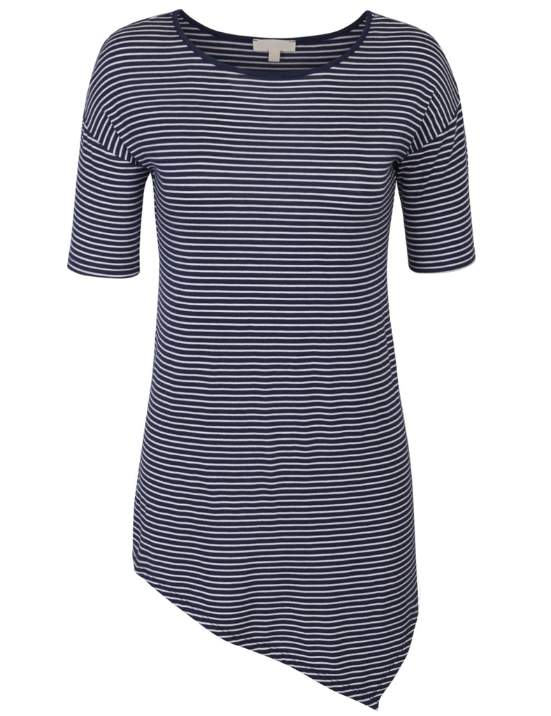 [Clearance] Womens Short Sleeve Striped Asymmetrical Hemline Tunic Top