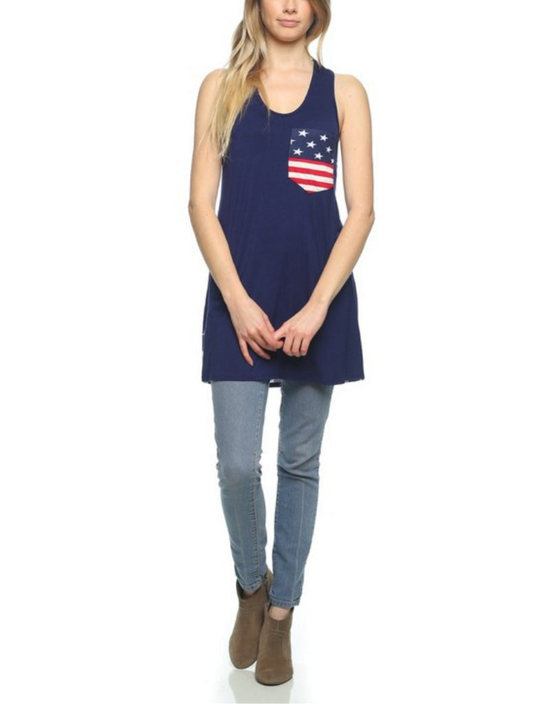 [Clearance] Womens American Flag Sleeveless Jersey Tank Tunic Top Made in USA