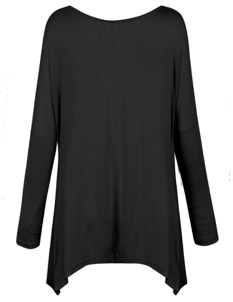 [Clearance] Womens Long Sleeve Loose Fit Bow Hemline Dolman Tunic Top Tee