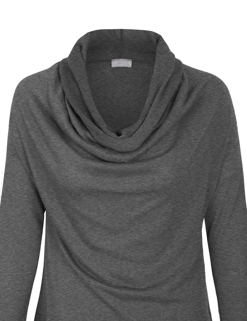 Long Sleeve Cowl Neck Drape Dolman Tunic Top