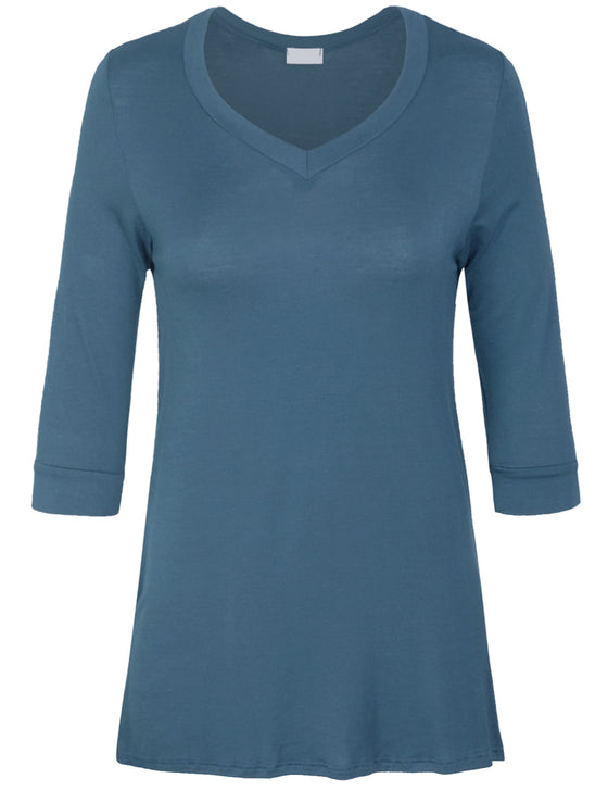 3/4 Sleeve V Neck Comfortable Fit Tunic Top