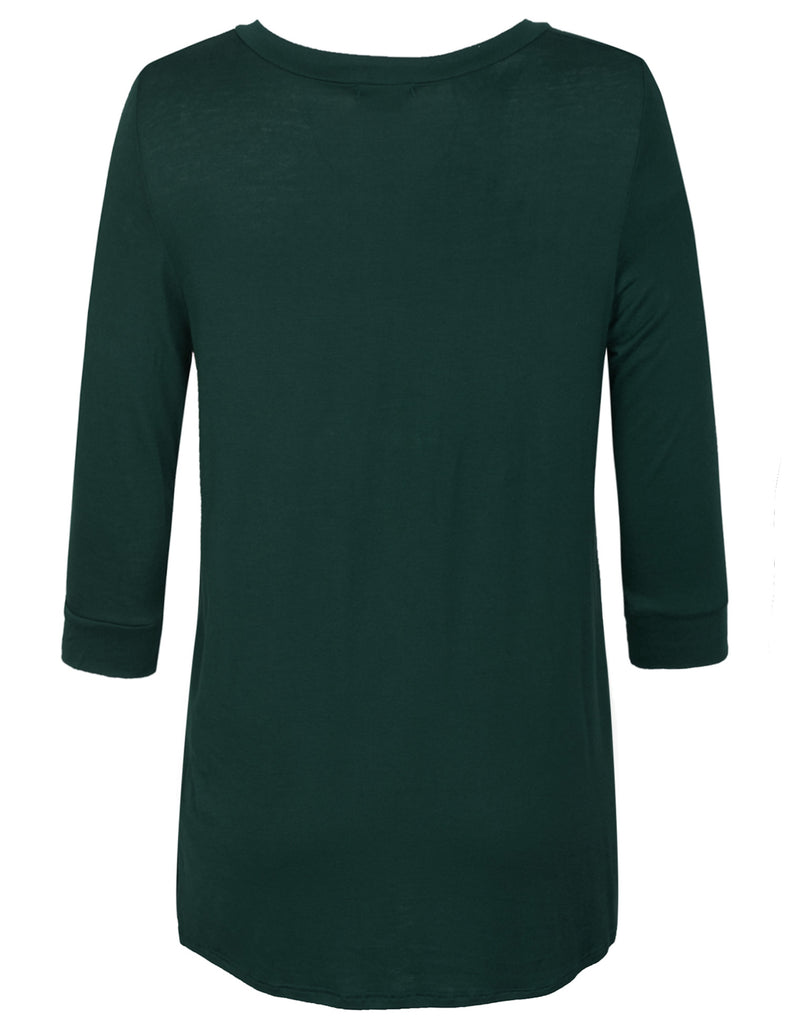 [Clearance] Womens 3/4 Sleeve V Neck Comfortable Fit Tunic Top