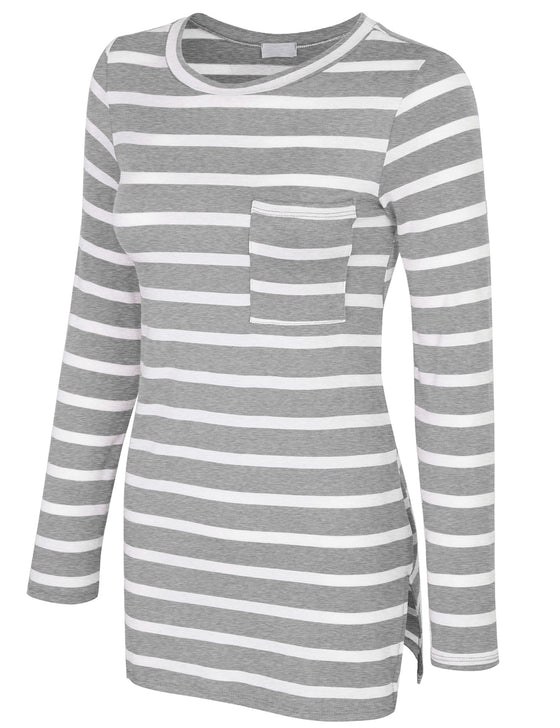 [Clearance] Womens Long Sleeve Striped Tunic Top with Chest Pocket