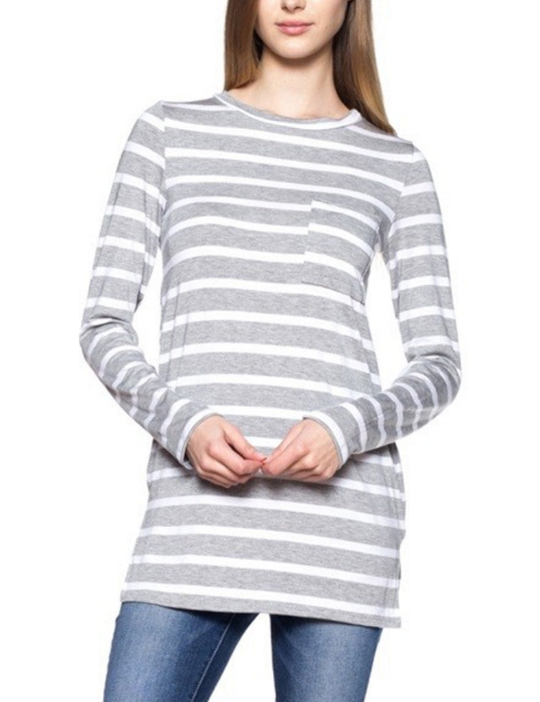 Long Sleeve Striped Tunic Top with Chest Pocket