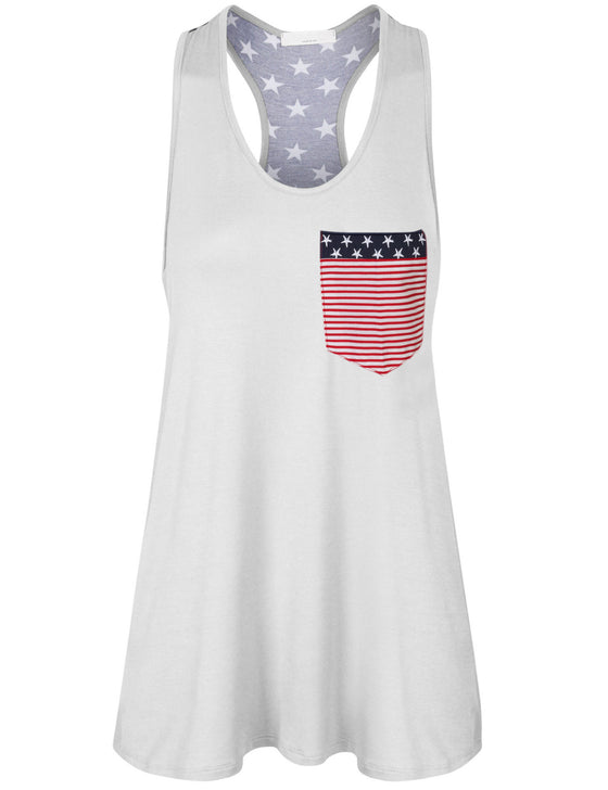 Womens American Flag Sleeveless Jersey Racer Back Tank Tunic Top Made in USA
