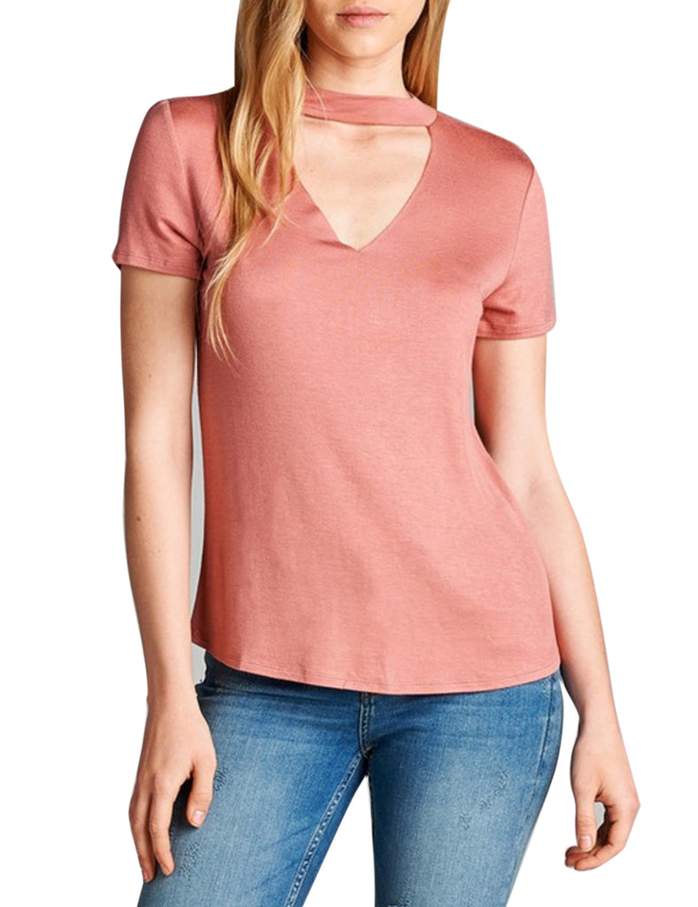 Womens Short Sleeve Choker V Neck Top T shirts