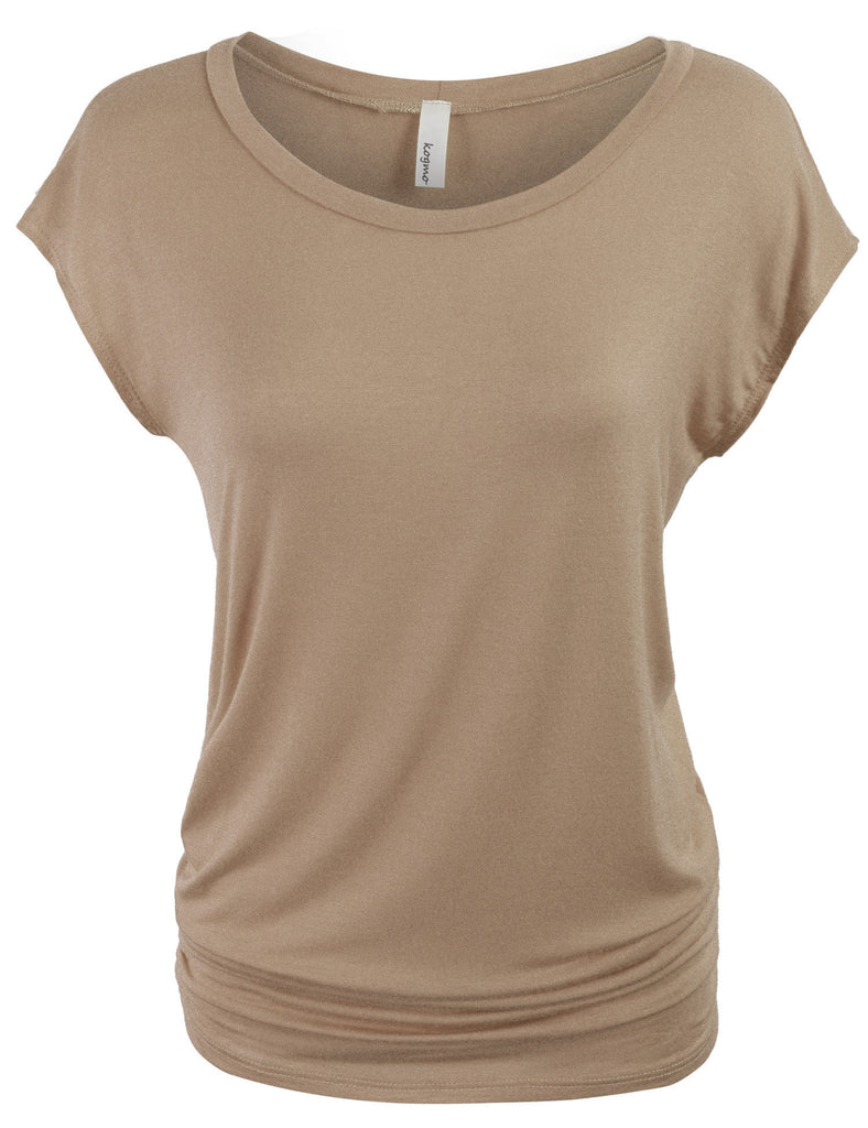 Short Sleeve Solid Basic Side Shirring Tunic Top Tee with Viscose Material