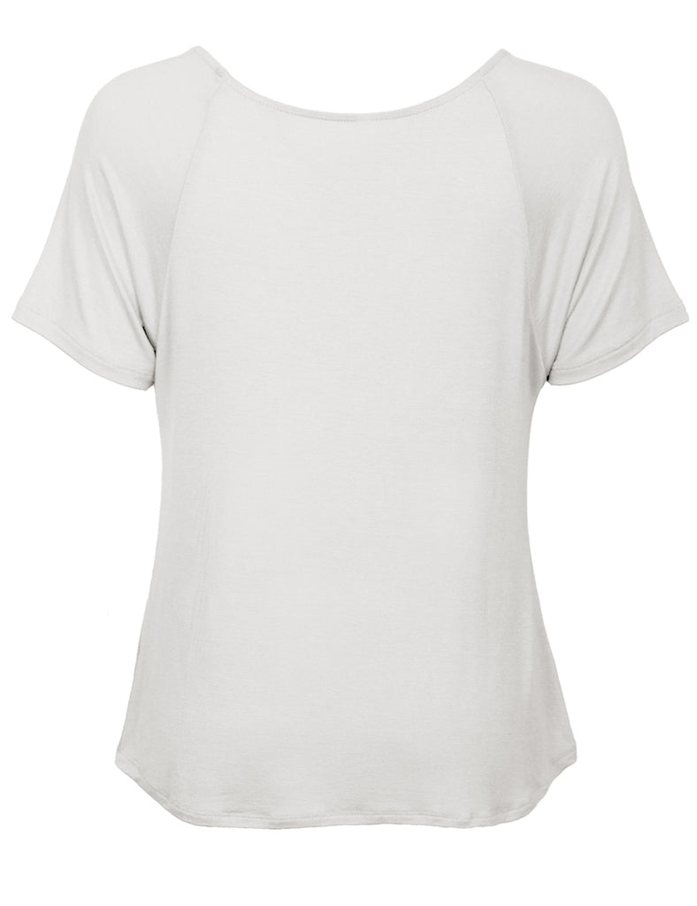 Women's Raglan Sleeve Dolman Tunic Tshirt Top with Knot on Hemline