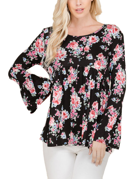Women's Floral Print Long Bell Sleeve Baby Doll Tunic Top (S-3X)