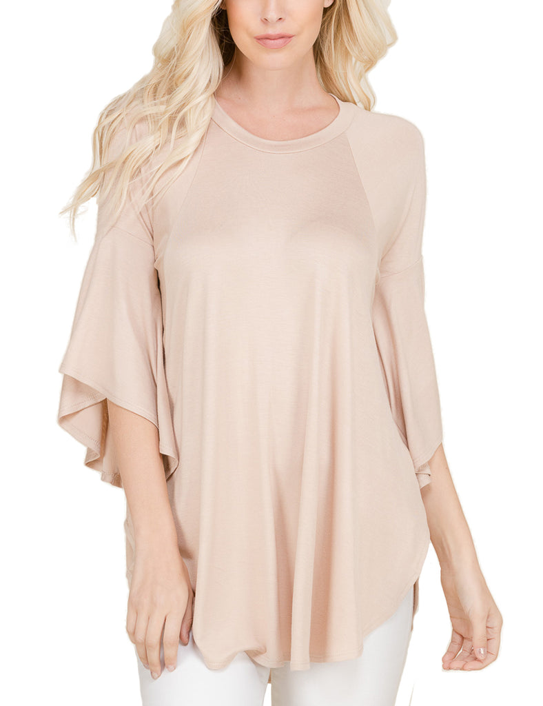 Womens Solid 3/4 Bell Sleeve Asymmetrical Hemline Tunic Top (S-3X)
