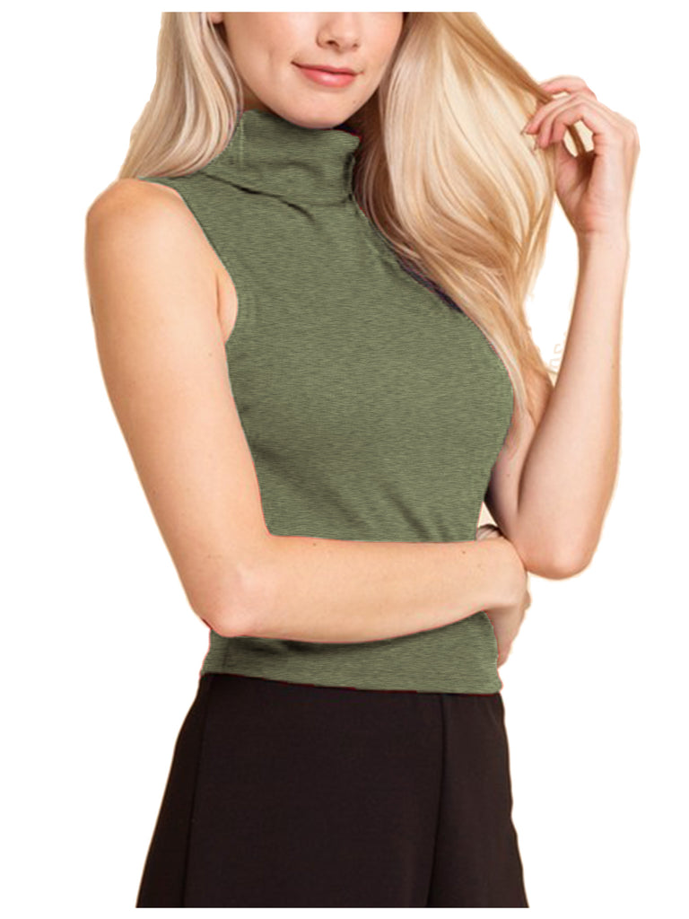Women's Sleeveless Ribbed Turtleneck Crop Top Knit Made In USA