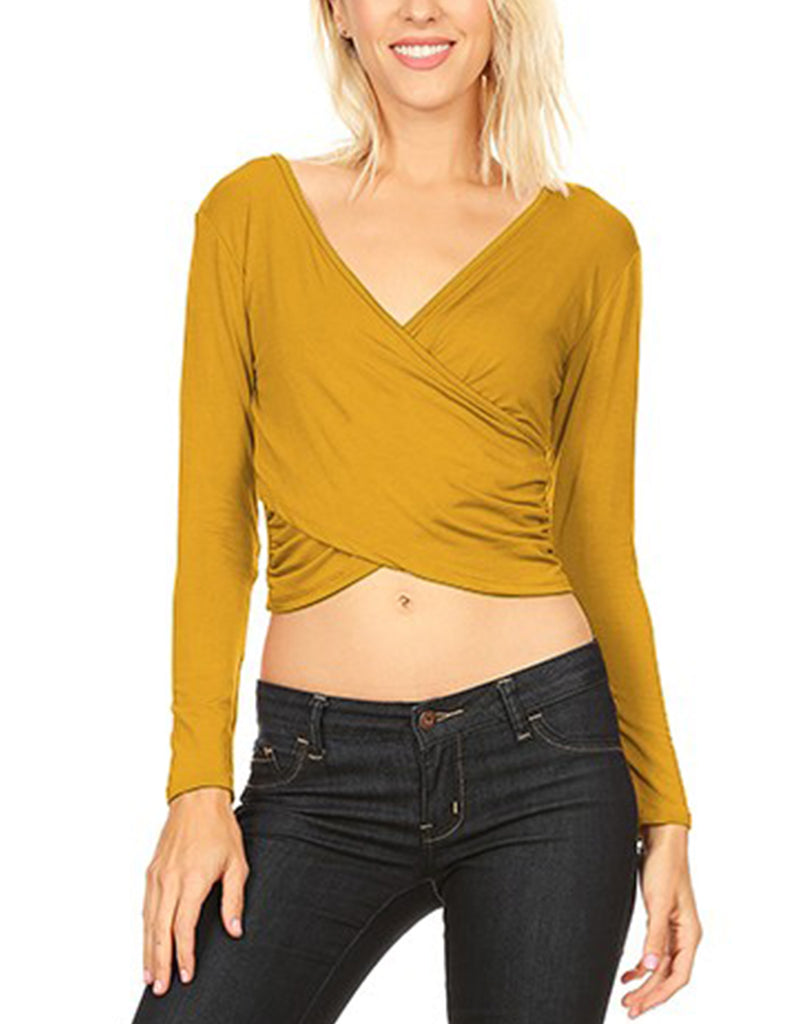 Womens Long Sleeve Side Shirring Wrapped Crop Top V Neck T Shirt Modal Material Made In USA