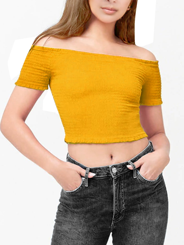KOGMO Womens Short Sleeve Off Shoulder Smocked Crop Top T Shirt