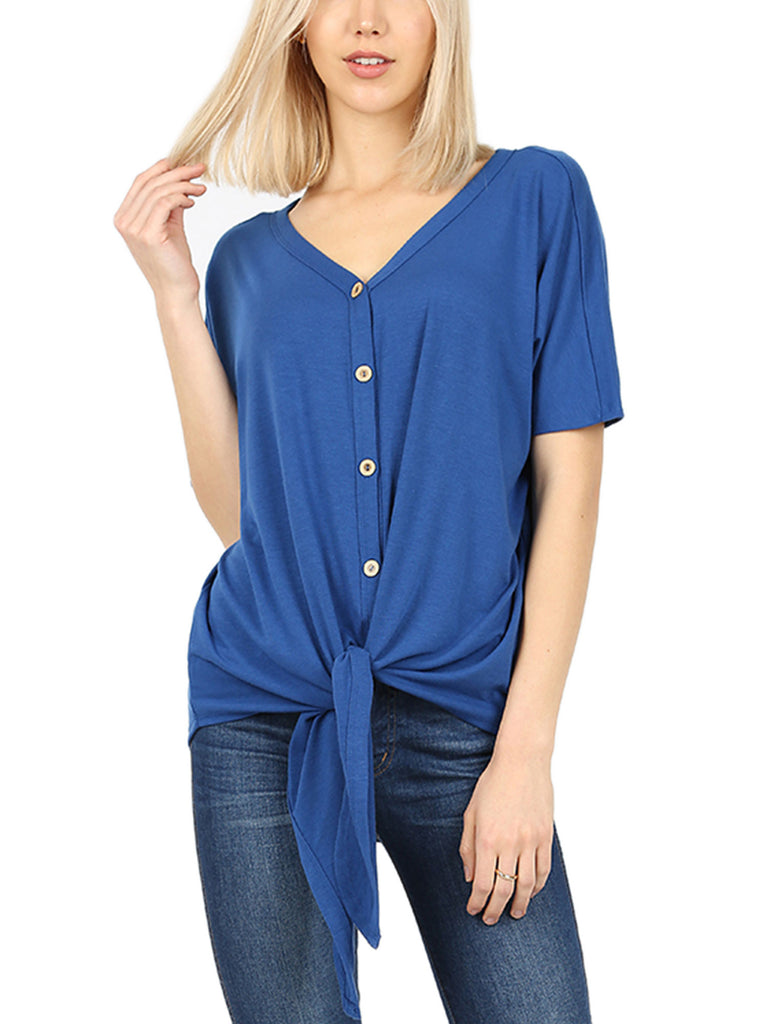KOGMO Women's Short Sleeve V Neck Button Down T Shirts Tie Front Knot Casual Tops