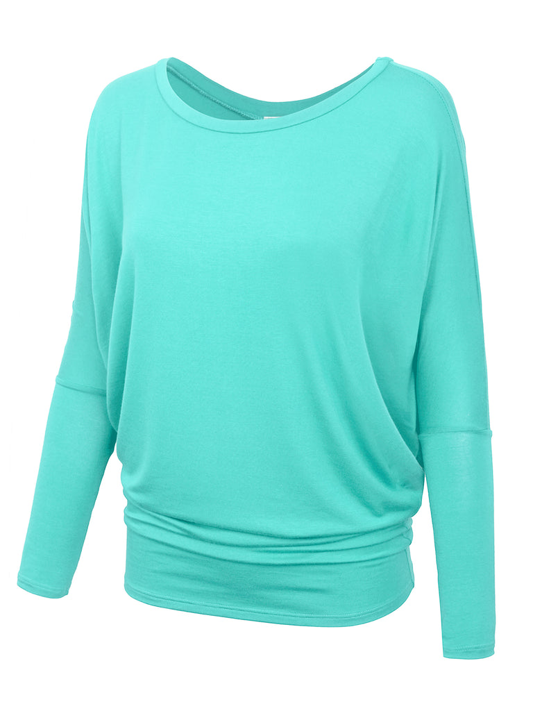 KOGMO Women's Round Neck Long Sleeve Dolman Batwing Top Shirts Made in USA